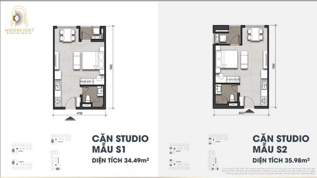 Thiết kế căn hộ Studio Moonlight Centre Point