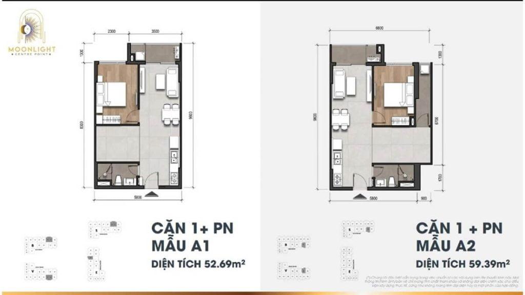 Thiết kế căn hộ 1PN+ 1 phòng đa năng tại Moonlight Centre Point