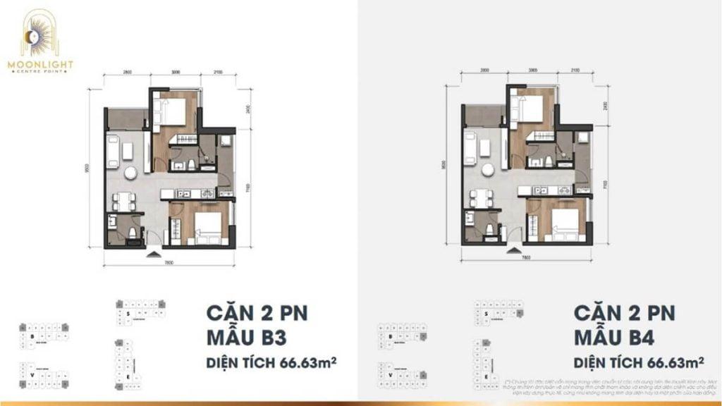 Thiết kế căn hộ 2PN-2WC tại dự án Moonlight Centre Point