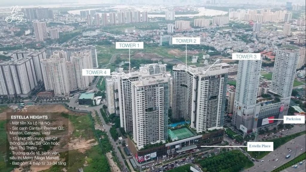 Chung cư Estella Heights còn nằm gần các trung tâm thương mại lớn như Parkson, Mega Market, Vincom Thảo Điền