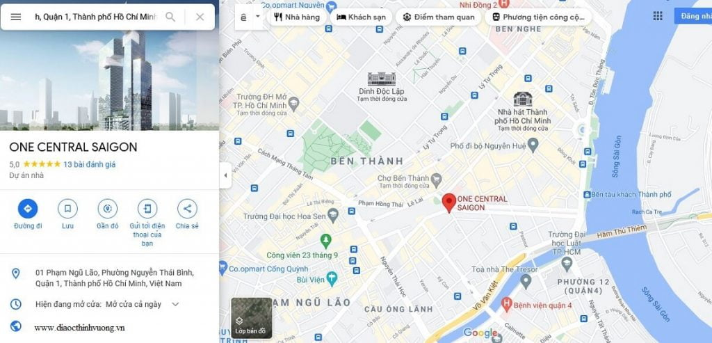 Vị trí dự án One Central Saigon trung tâm Quận 1