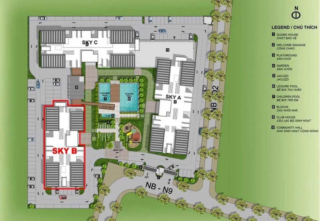 Mặt bằng tổng thể khu căn hộ cao tầng Eco Xuan Sky Residences