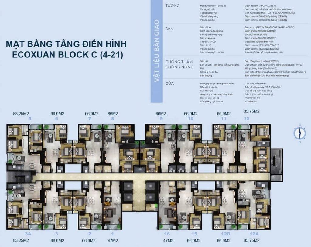 Mặt bằng căn hộ Eco Xuân Bình Dương tháp C