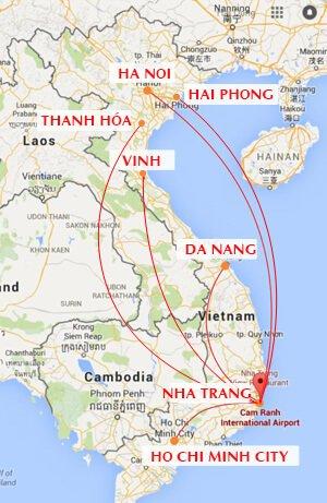 Các đường bay nội địa của Sân bay Cam Ranh