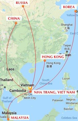 Các đường bay quốc tế của Sân bay Cam Ranh
