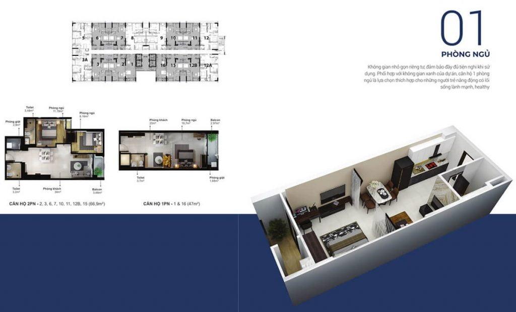 Thiết kế căn hộ 1PN tại Eco Xuân Thuận An