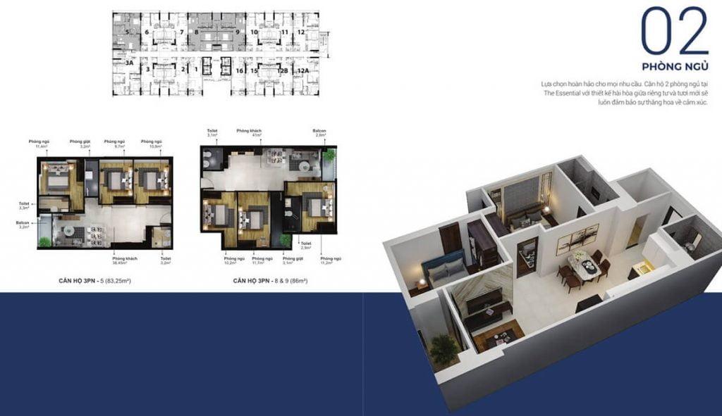 Thiết kế chi tiết căn hộ EcoXuan Sky Residences mãu căn 2PN