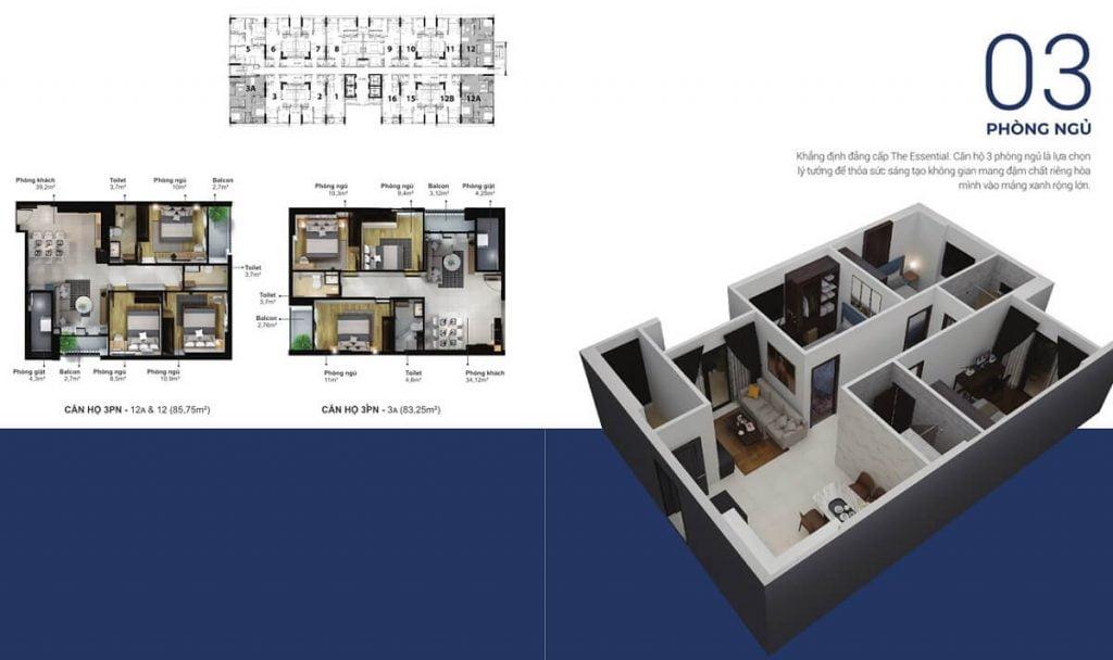 Thiết kế chi tiết căn hộ 3PN tại Eco Xuân Thuận An